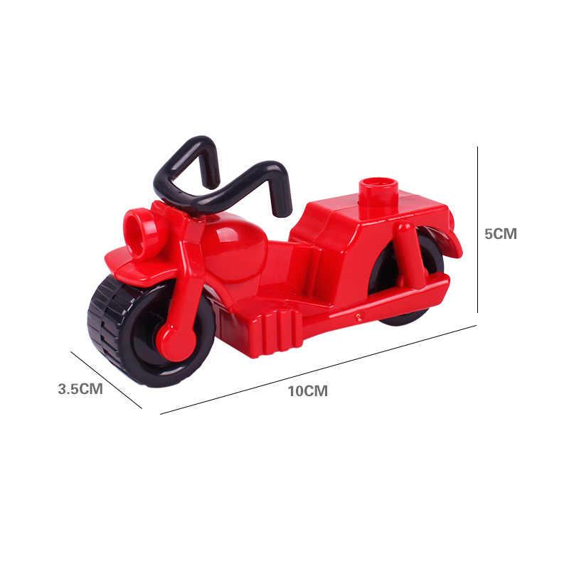 Legoing Duplo Mobil Sepeda Motor Gambar Besar Ukuran Moc Single Dijual Diy Blok Bangunan Mainan untuk Anak Kompatibel untuk Duplo Blok