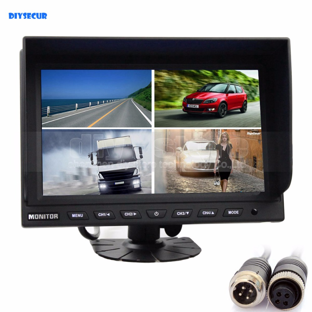 DIYSECUR 4CH 4PIN DC12V 24V 9 Inch 4 Split Quad LCD Screen Display Color Video Security Monitor for Car Truck Bus CCTV Monitor