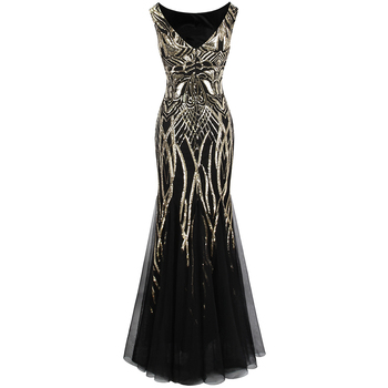 Angel-fashions Bateau Boat Neck Vintage Golden Sequin Ball Gown Long Prom Dresses 1