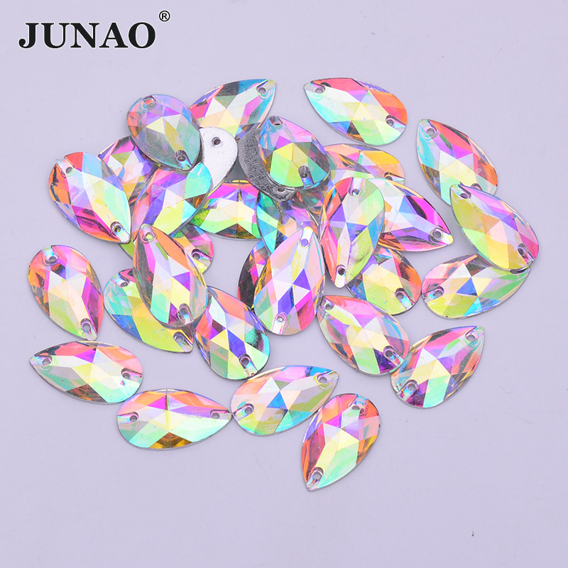 50pcs 8x22mm Teardrop AB Sew On Gems Resin Rhinestone Costume Embellishments