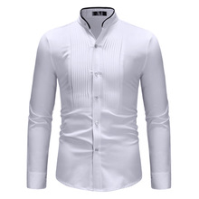 Men shirt  long sleeve cotton fashion simple contrast color edging collar shirt mens casual pleated long sleeve shirt ZT CS61