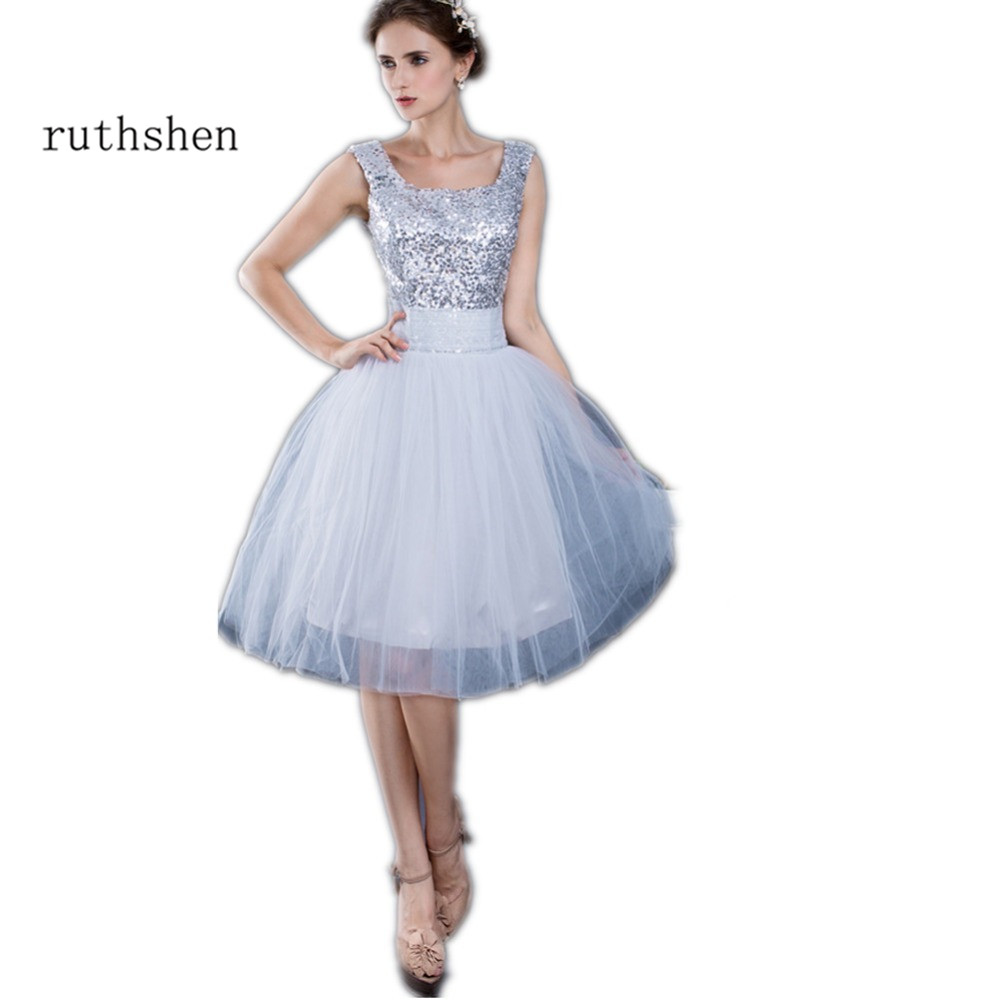 Us 2479 38 Offruthshen Vestido Curto 2018 Short Cheap Prom Dresses Ruched Tulle Sequined Junior Formal 8th Grade Graduation Party Dress In Prom