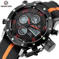 Top Brand Military Army Watches Men Quartz Hour 3D Face Date Clock Man Nylon Black Fashion