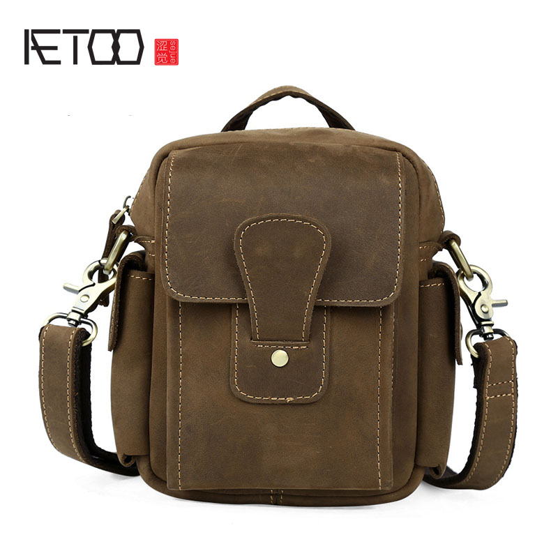 AETOO Retro crazy horse leather men's casual three with Messenger bag portable summer bag bag shoulder bag 13x30tl push pull type crash type miniature electromagnet dc 12v 24v tubular electric solenoid electromagnet stroke 6mm 50g