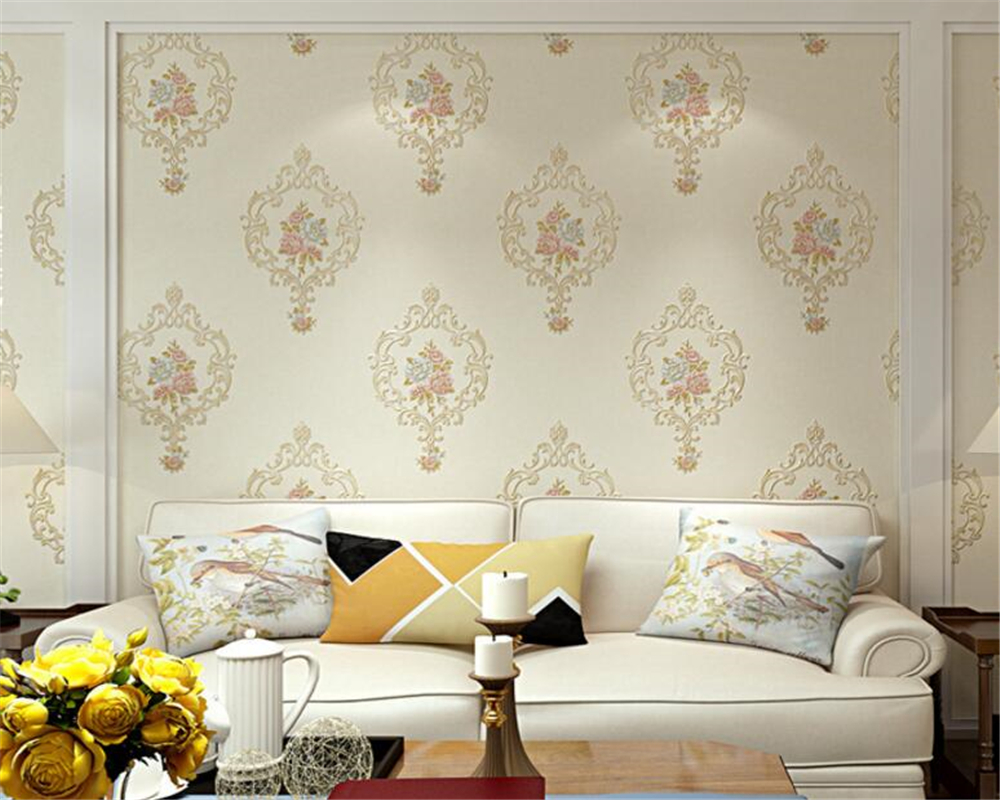 Beibehang European Embossed wallpaper fine flower bedroom wallpaper for walls 3 d papel de parede wallpaper mural papier peint