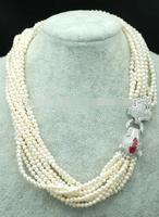 Hot sale new Style >>>10rows freshwater pearl near round 4 5mm nature beads wholesale 19inch necklace red leopard