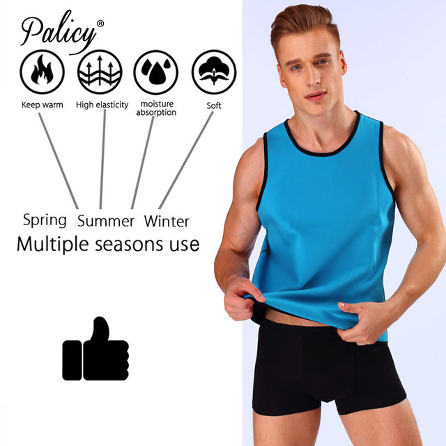 Palicy Sweat Body Shaper Shirt Hot Thermo Sauna Suit Weight Loss Black Shapewear Neoprene Waist Trainer Men Slimming Vest XXXXXL