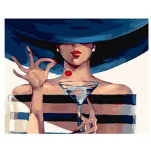 Hand Painted Canvas Oil Paintings,Paint By Number Kits,Mysterious Woman Painting Coloring Numbers