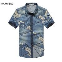 2017 New Summer Men S Denim Shirt Chinese Style Print Short Sleeve Flower Shirts Men Casual
