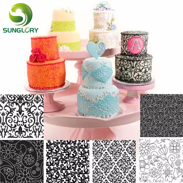 6PCS Floral Texture Sheet Set Sugar Craft Decoration Texture Mat For Cookie Cupcake Fondant Cake Mold Baking Tools For Cakes