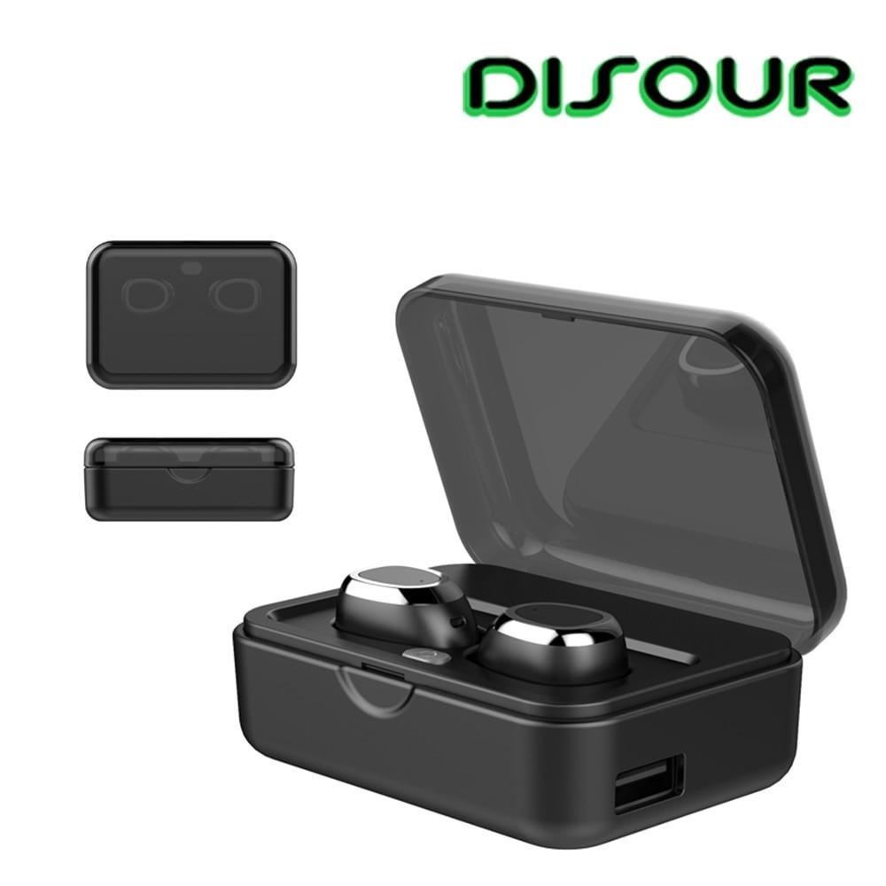 DISOUR TWS écouteurs bluetooth Sans Fil écouteurs sans fil véritables avec 2200 mAh De Charge Boîte Dans L'oreille Mini Invisible écouteur mains libres