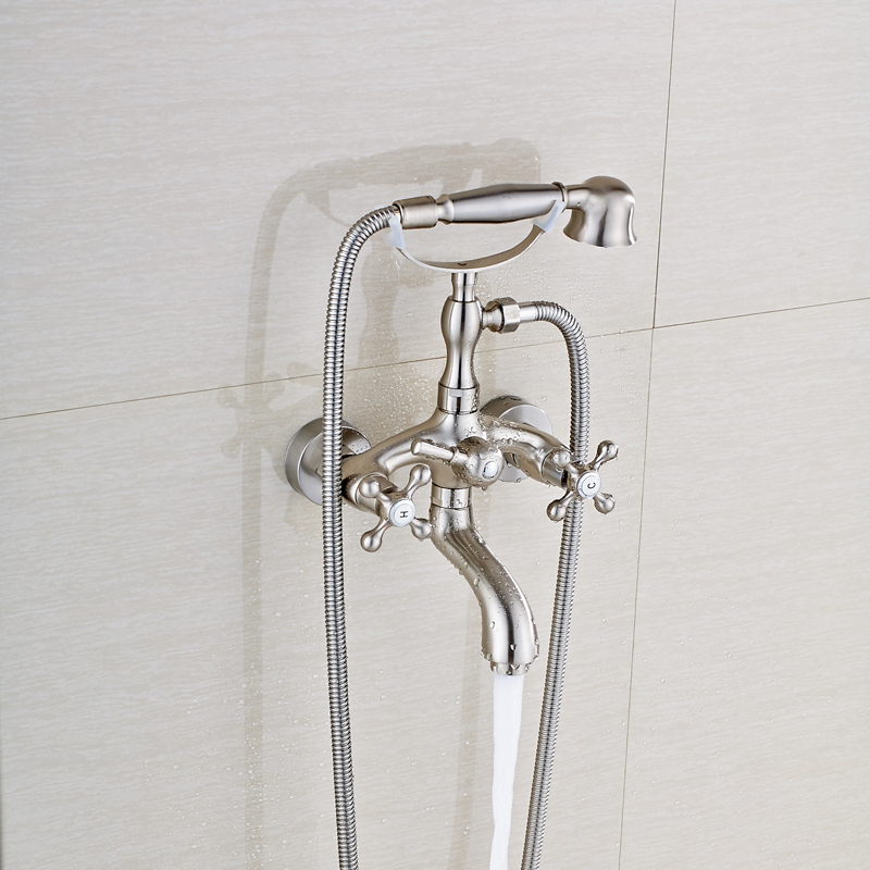 Good Quality Dual Handles Brushed Nickel Bathtub Shower Faucet Wall Mounted Tub Sink Faucet + Handheld Shower