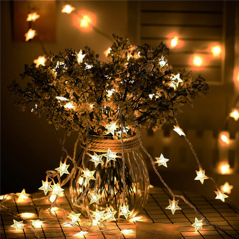 10M 33ft 100LEDs Star String Lights 8 Modes Flash LED Fairy Garland Waterproof For New Year Christmas Decoration EU PLUG 220V