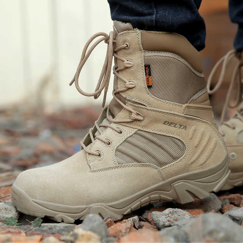 Зимние и осенние мужские армейские ботинки; Качественная спецназ; Тактический пустынный; армейские ботильоны; Рабочая обувь; кожаные зимние ботинки