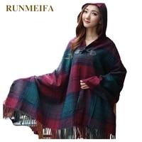 [Runmeifa] 2017秋冬2015新しい女性マントフードトップス女性厚いエスニックチェック柄ジャカードフード付きケープスカーフショール
