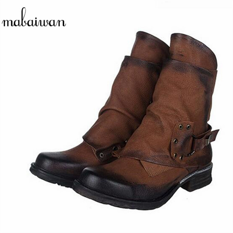 Mabaiwan 2017 Women's Shoes Buckle Motorcycle Ankle Boots Chivalrousness Short Military Boots Genuine Leather Shoes Women Flats mabaiwan handmade rivets military cowboy boots mid calf genuine leather women motorcycle boots vintage buckle straps shoes woman