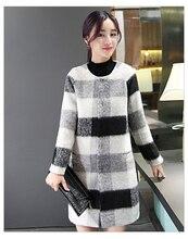 women jacket women winter coat Ladies new winter woolen coat and long sections thicker coat tartan