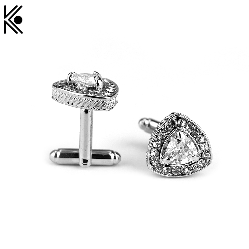 New Arrive shirt Brand Cuff Buttons Gold/Silver Plated Crystal Triangle Hearts And Arrows AAAA Zircon Cufflinks Men's gift