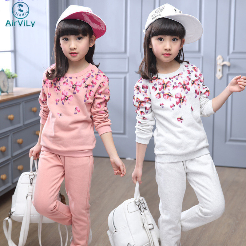 Spring autumn girls clothing set floral printed kids suit set casual two-piece sport suit for girl tracksuit children clothing