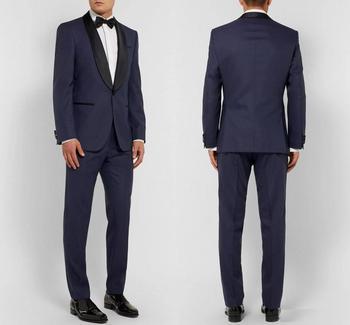 Navy Blue Men Wedding Suits Custom Made Slim Fit Wedding Groom Tuxedos For Men Groomsman Best Man Suit Jacket+Pants+Bow