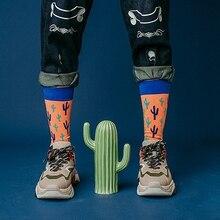Men Hip Hop Breathable Skateboard Sports Hosiery Cartoon Painting Winter Socks Street Funny Cotton Soft Fruit