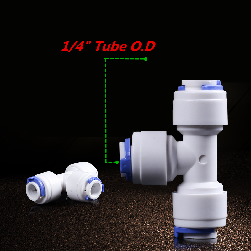 Equal Tee Union 1/4 Tube OD Hose Quick Connector RO Water Filter Fittings Quick Connect Adapter For Reverse Osmosis Aquarium 1 4 od tube tee type pe pipe fitting hose plastic quick connector aquarium ro water filter reverse osmosis system