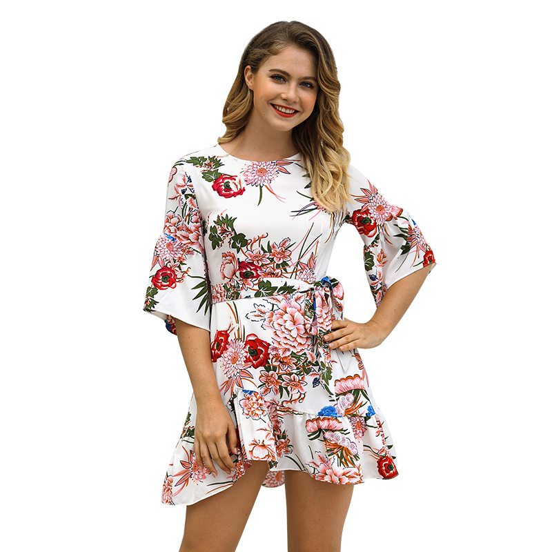 Women Summer Floral Print Ethnic Mini Lace Up Sexy Dresses Ruffle Dress Vintage Short Sleeve Female Holiday Hot Sale Beach Wear