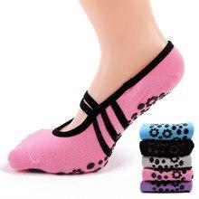 66f01e4eb Las mujeres antideslizante vendaje de algodón deportes Yoga Calcetines  Mujer de ventilación Pilates Ballet calcetines danza