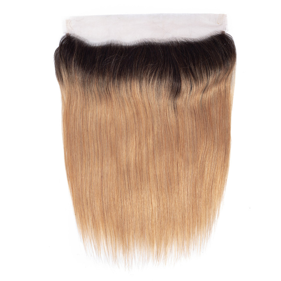 Ombre Lace Frontal Closure Remy 1B/27 Honey Blonde Color Peruvian Straight Human Hair Weave 13X4 PrePlucked Lace Frontal Closure