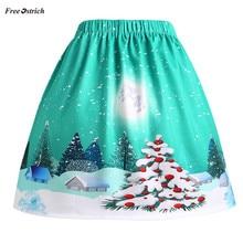 76c14d1e29 Libre de avestruz ropa falda de las mujeres Las mujeres Sexy Navidad Santa  impreso Swing rendimiento