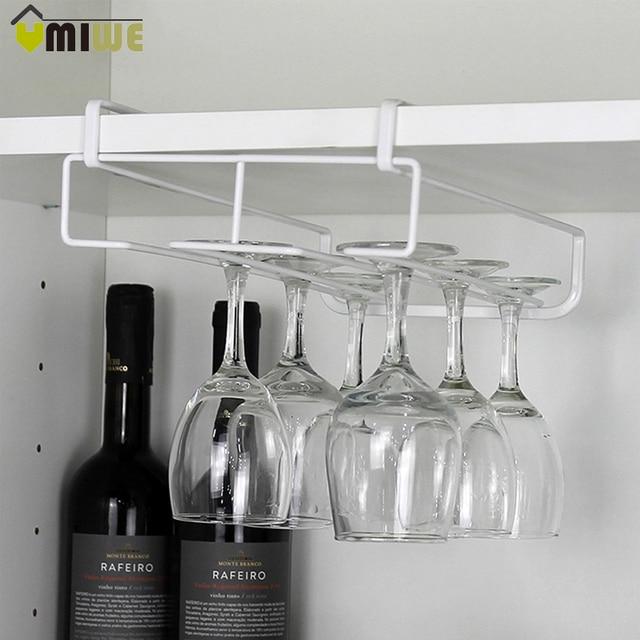 New Stainless Steel Wine Glasses Holder Wine Goblet Rack Kitchen Bar Wall  Hanging Champagne Wine Rack