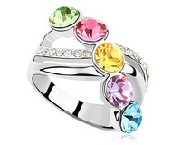 Colorful Austrian Crystal Ring Women Engagement Party Rings Simple Jewelry Exquisite Plain Design Rings Free Shipping