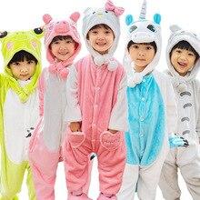 Купить с кэшбэком Winter girl boy children's pajamas baby onesie kids pajama set animal cartoon sleepwear stitch panda pink unicorn hooded cosplay