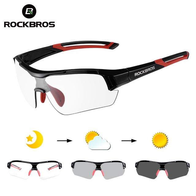 Rockbros photochromic ciclismo óculos de bicicleta esportes ao ar livre óculos descoloração mtb estrada da bicicleta eyewear 1