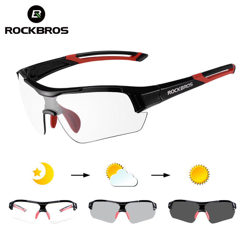 ROCKBROS Photochromic Cycling Bicycle Bike Glasses Outdoor Sports MTB Bicycle Bike Sunglasses Goggles Bike Eyewear Myopia Frame title=
