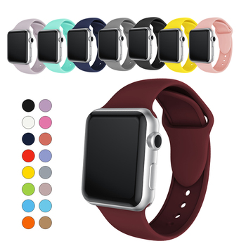 цена на sport Soft Silicone strap watchband For Apple watch 38mm 40mm 42mm 44mm Replacement Watch Strap For iWatch Series 1 2 3 4 belt