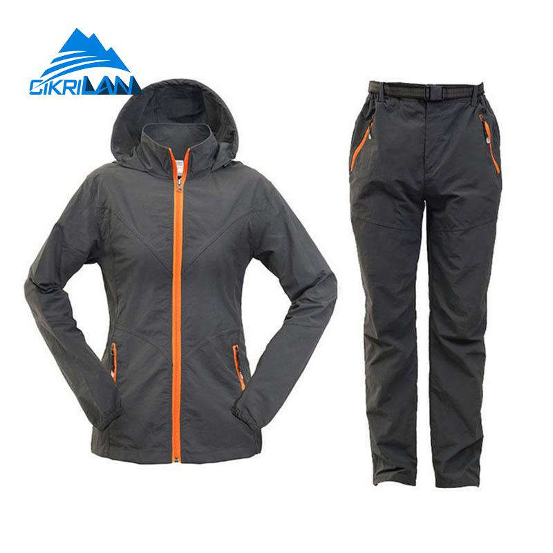 Summer Autumn Outdoor Sport Hiking Camping Fishing Sets Cycling Jacket Pants Women Hunting Clothes Quick Dry Sun Protection Suit(China)