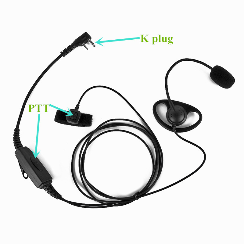 untuk BAOFENG Dua arah Radio 2 Pin K-Plug Headset Headphone dengan Double PTT Button UV-5R UV-B5 UV-B6 PUXING WOUXUN Walkie Talkie
