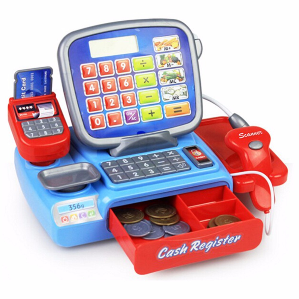 Pretend Play Props For Kids Toy Cash Register WIth A REAL font b Calculator b font