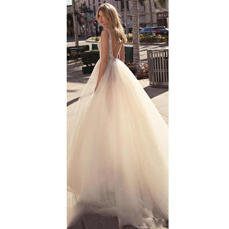 LORIE 2019 V Neck Vestidos de Casamento Da Praia Frisado Alta Dividir Backless A Linha Tulle Sexy boho Vestidos de Noiva Vintage
