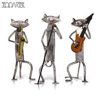Tooarts Metal Escultura A Playing Guitar Saxophone Singing Cat Furnishing Articles Handicrafts Sculpture