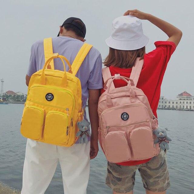 Simple Nylon Waterproof Backpacks Women Solid Color Schoolbags Knapsack Large Capacity Travel Bags For Teenager Bookbags Daypack