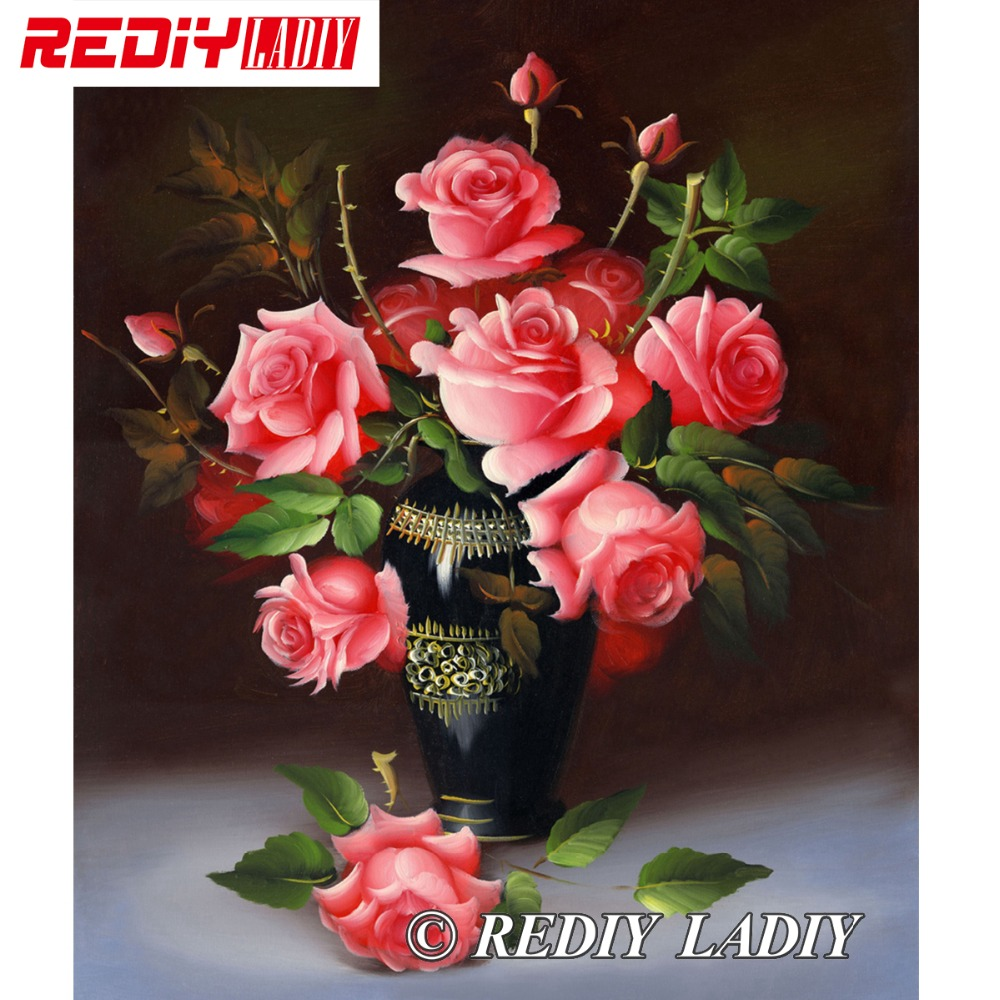 30x35.5cm Accurate Printed Crystal Beads Embroidery Kits Still Life Rose Beadwork Crafts Needlework Beaded Cross Stitch APT504