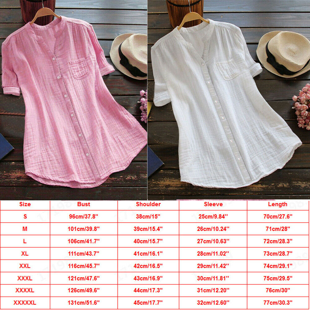 Women Tunic Tops Shirt Blouse Casual V Neck Short Sleeve Blouse Lady Cotton Linen tops shirt blusas Streetwear Plus Size in Blouses amp Shirts from Women 39 s Clothing