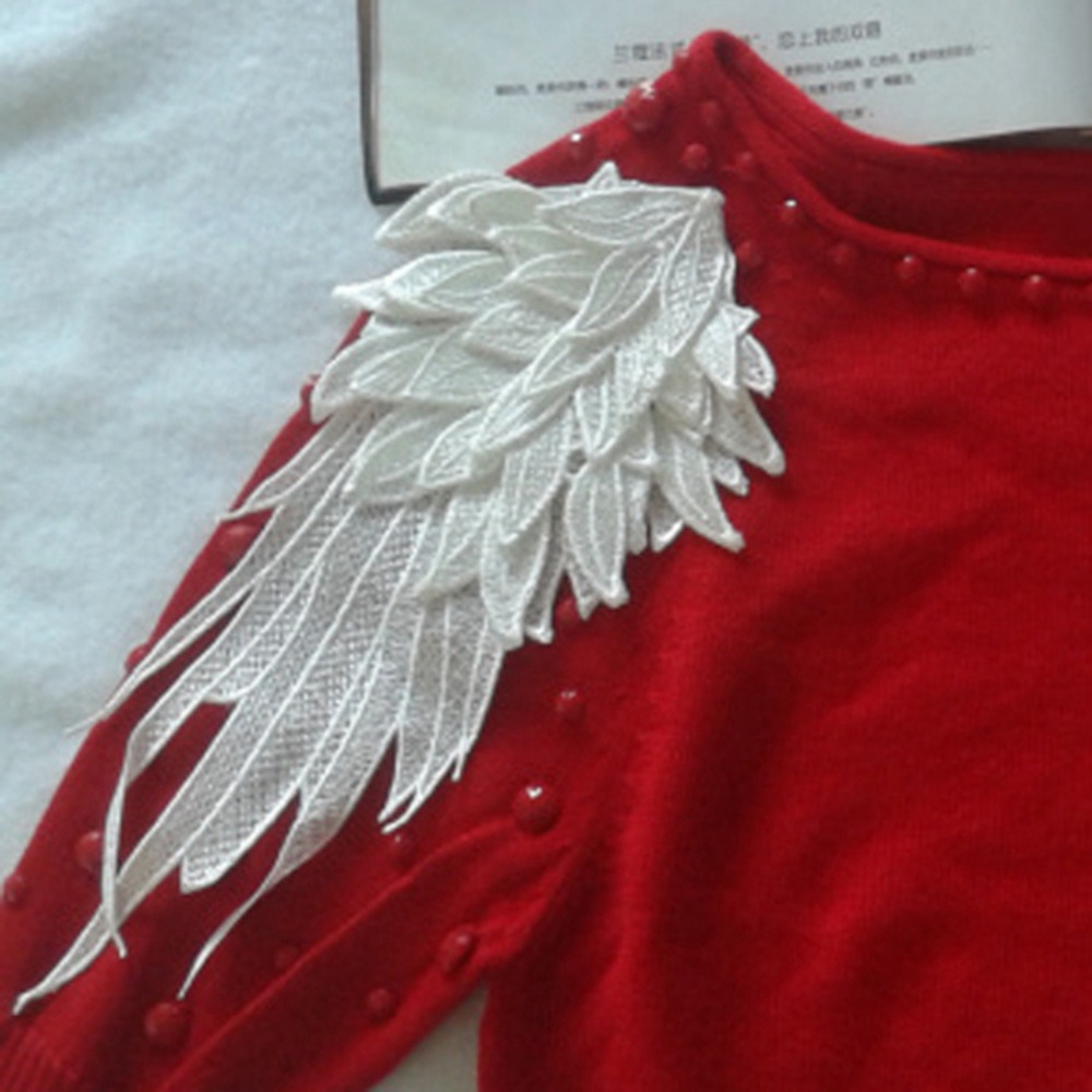 white embroidered angel wings fabric flower shoulder venise lace