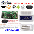 20 шт./лот ELM327 WIFI V1.5 оборудование PCB PIC18F25K80 чип ELM 327 1 5 работает 12 В бензин и дизельные автомобили работает Android/iOS диагностический