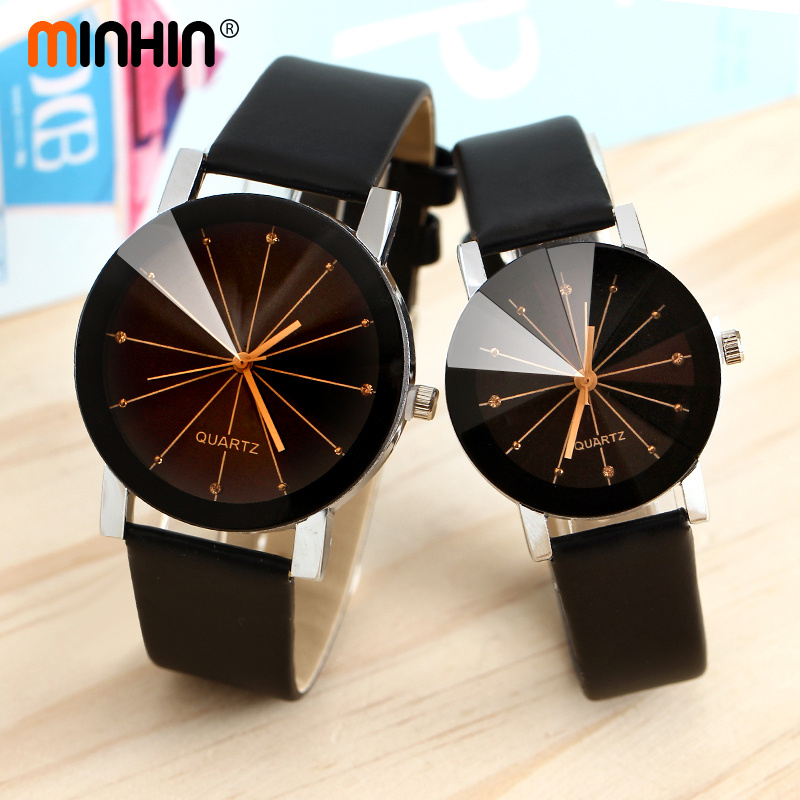 MINHIN Charming Lover's Watch Delicate Leather Band Quartz Wristwatches Women Men Casual Dress Watch Montre Femme Relogio(China)