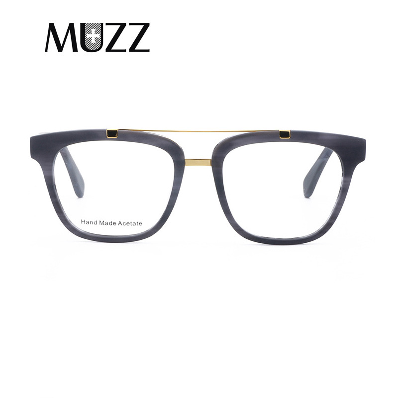 MUZZ Men Square Frame Marbling Brand Designer Frames Myopia Optical Frames 2018 NEW High quality Double Bridge Women Eyeglasses