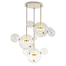 Post Modern Creative Clear Glass Bubble Ball Led Pendant Lamp Brightknight for dining room living room bar LED Glass Hang Lamp modern simple staircase pendant lamp led bubble column living room long pendant lamps rotating villa suction crystal pillar post