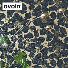 Navy BlueGreenGrayWhite Modern Large Floral Wallpaper Roll Art Elegant Blooming